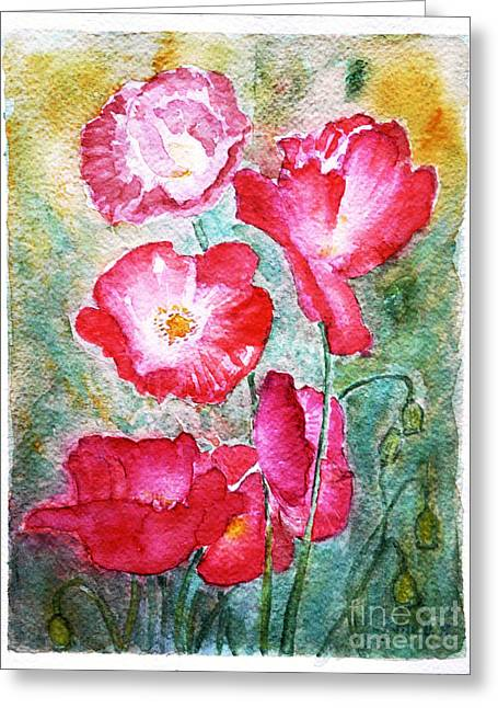 Greeting Card featuring the painting Poppies by Jasna Dragun