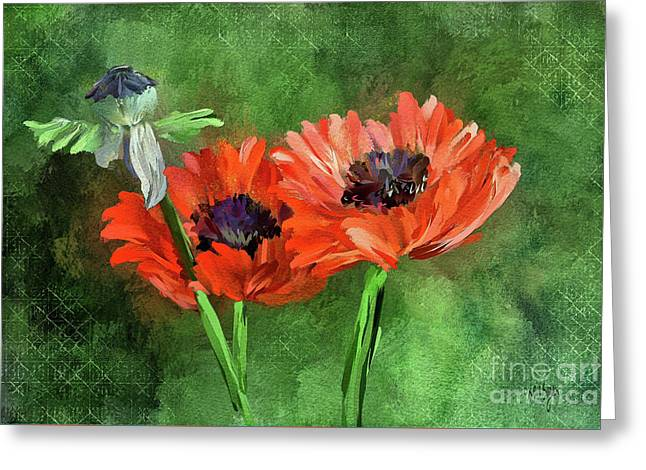Poppies Greeting Card by Lois Bryan