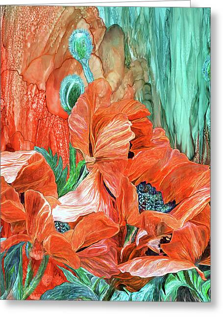 Poppies - Love In Bloom Greeting Card by Carol Cavalaris