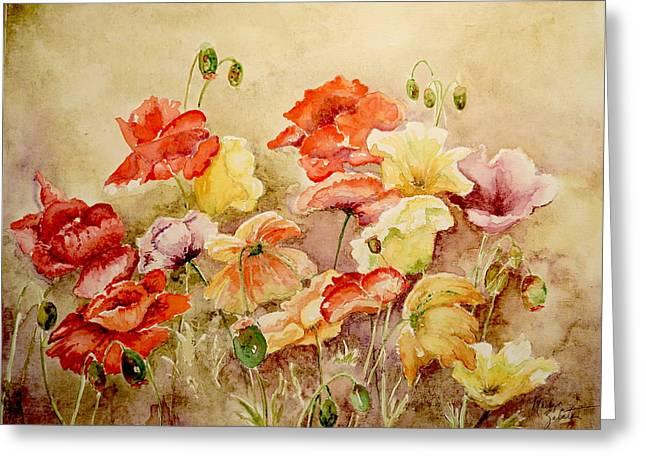 Poppies Greeting Card by Marilyn Zalatan