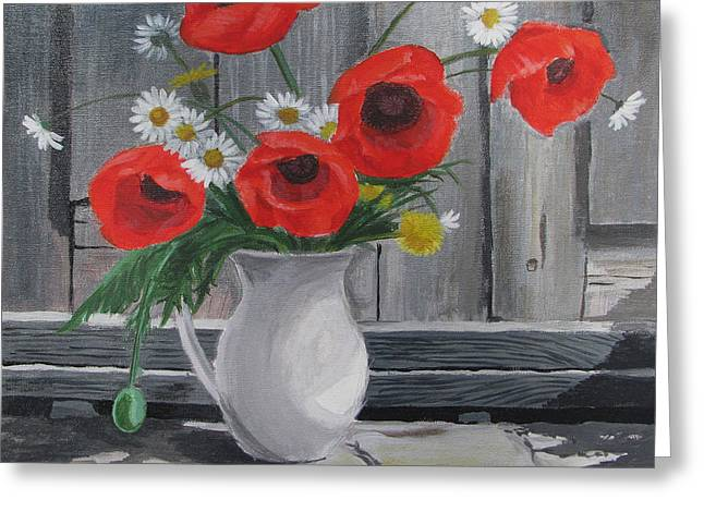 Poppies On A Vase Greeting Card