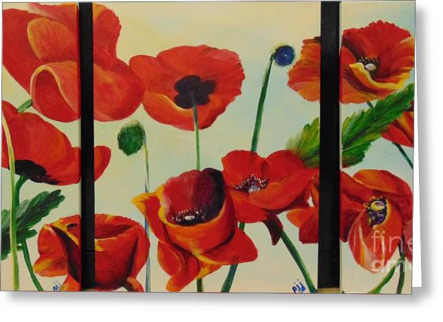Greeting Card featuring the painting Poppies by Saundra Johnson