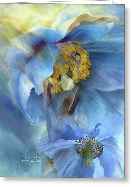 Poppies So Blue Greeting Card by Carol Cavalaris