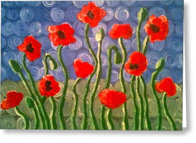 Poppies Greeting Card by Tina Hollis