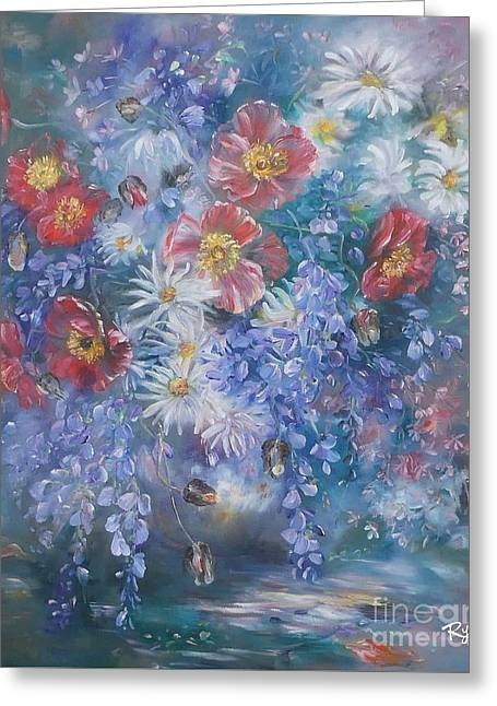 Poppies, Wisteria And Marguerites Greeting Card