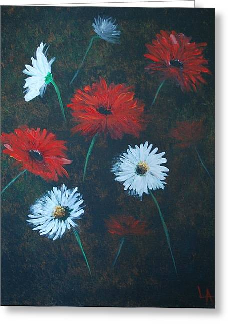 Greeting Card featuring the painting Poppin Daisies by Leslie Allen