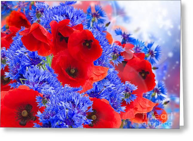 Poppy And Cornflower Flowers Greeting Card