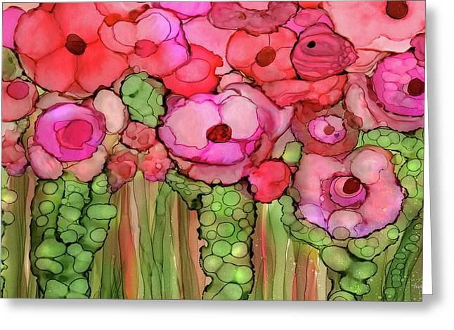 Poppy Bloomies 3 - Pink Greeting Card by Carol Cavalaris