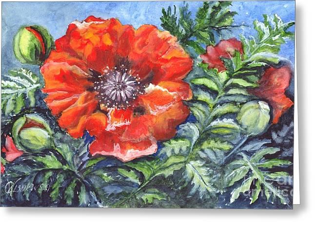 Poppy Brilliance Greeting Card by Carol Wisniewski