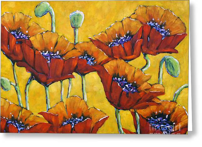 Original By ist Paintings Greeting Cards - Poppy Craze by Prankearts Greeting Card by Richard T Pranke