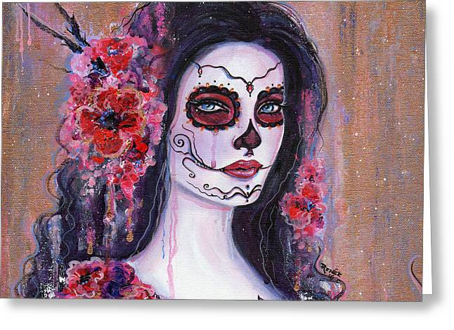 Poppy Day Of The Dead Greeting Card by Renee Lavoie