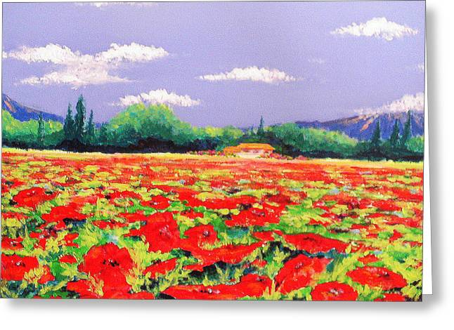 Poppy Field Greeting Card by Anne Marie Brown