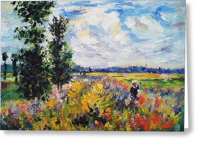 Poppy Field At Argenteuil Greeting Card by Peter Kupcik