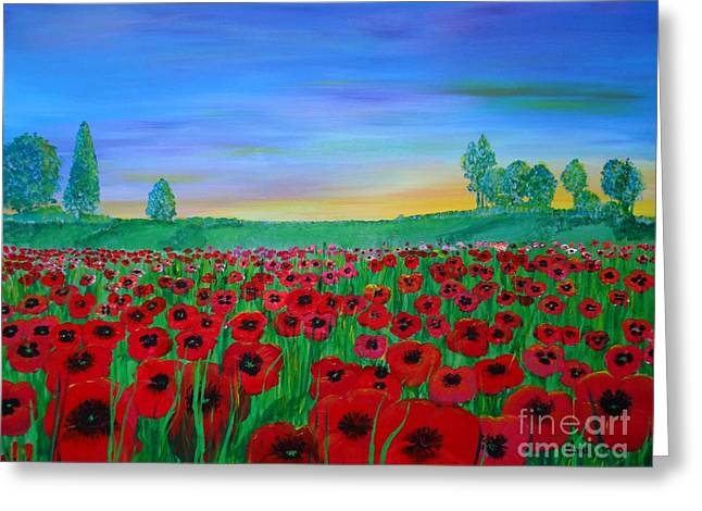 Poppy Field At Sunset Greeting Card
