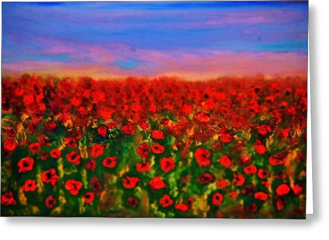 Greeting Card featuring the painting Poppy Field by Evelina Popilian