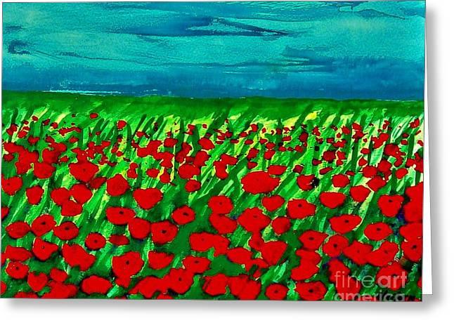 Poppy Field Ll Greeting Card by Marsha Heiken