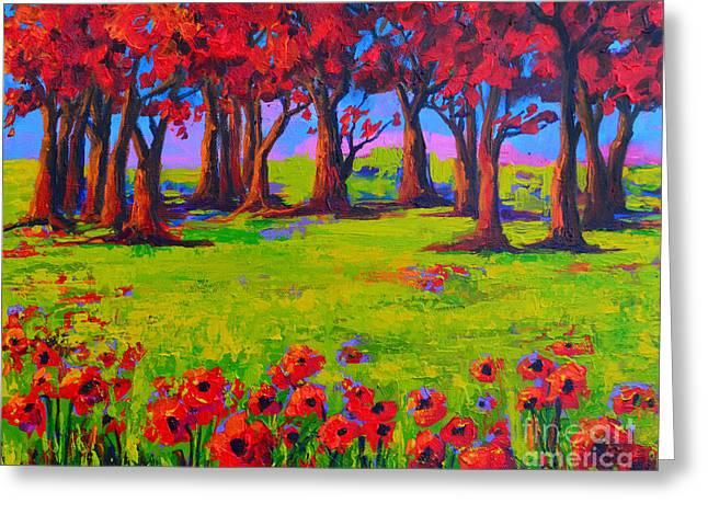 Poppy Field Modern Landscape Colorful Palette Knife Work 2 Greeting Card by Patricia Awapara