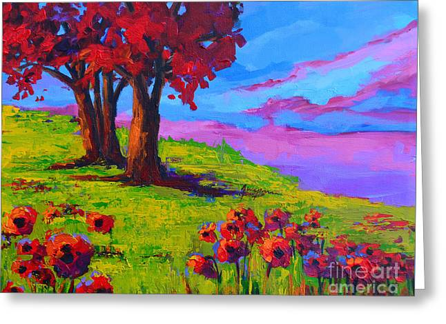 Poppy Field Modern Landscape Colorful Palette Knife Work  Greeting Card