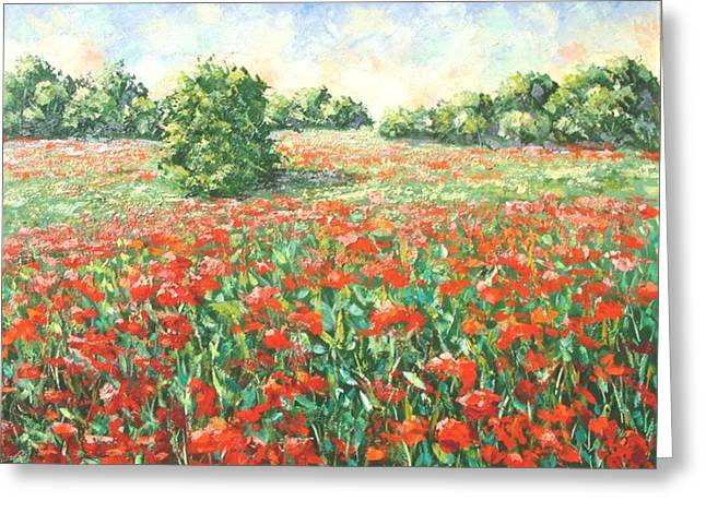 Poppy Field Provence South Of France Greeting Card
