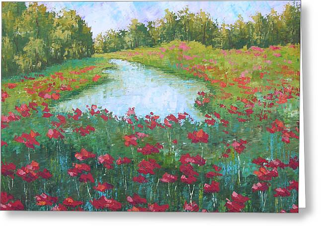 Poppy Field With Lake South Of France Greeting Card