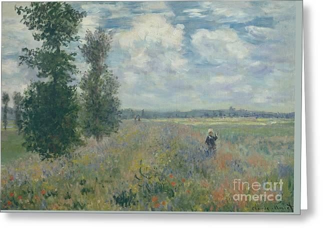 Poppy Fields Near Argenteuil, 1875 Greeting Card by Claude Monet
