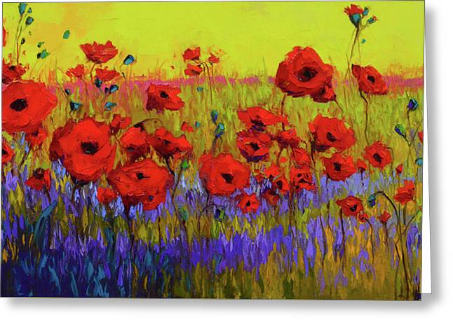 Greeting Card featuring the painting Poppy Flower Field Oil Painting With Palette Knife by Patricia Awapara
