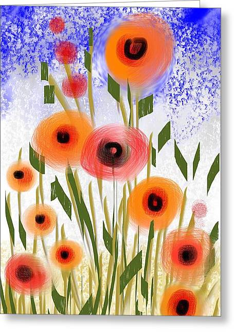Poppy Garden Greeting Card by Elaine Lanoue