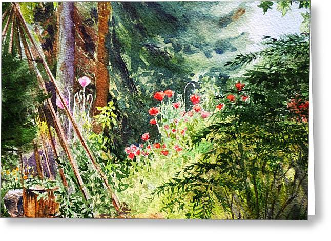 Poppy Garden Landscape Greeting Card