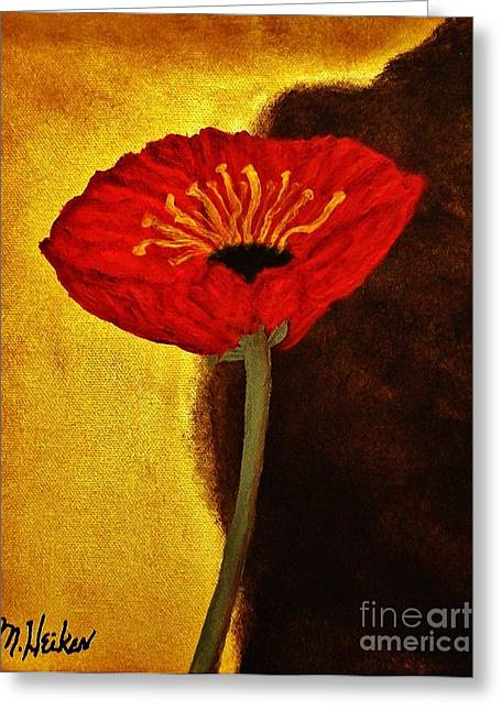 Poppy L Greeting Card by Marsha Heiken