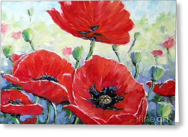 Poppy Love Floral Scene Greeting Card by Richard T Pranke