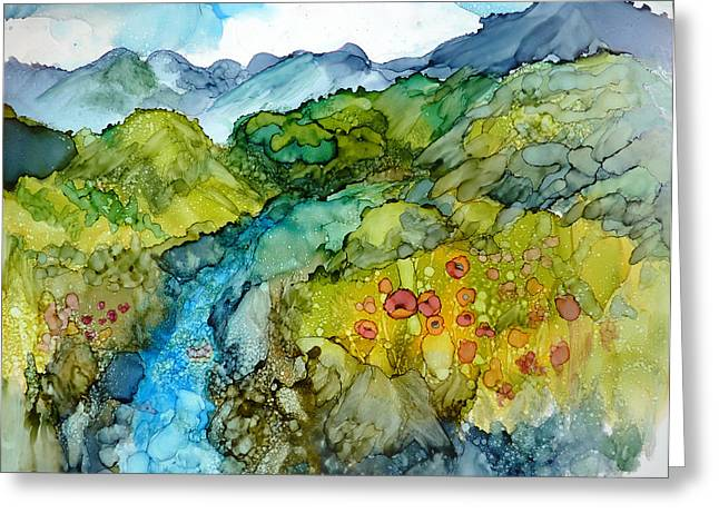Poppy Mountains Greeting Card