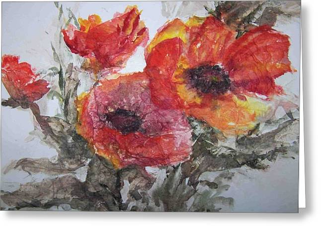 Poppy Parade Greeting Card by Sandy Collier