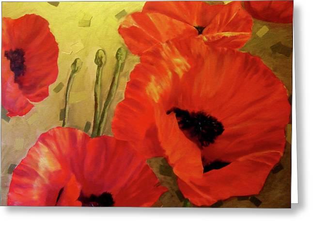 Poppy Power Greeting Card by Jennifer  Blenkinsopp
