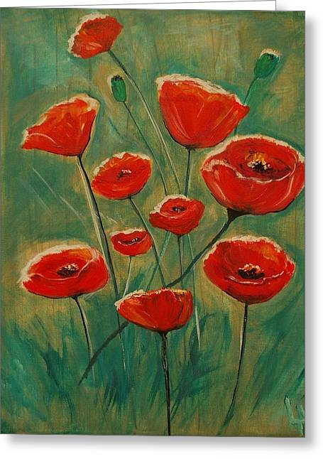 Greeting Card featuring the painting Poppy Surprise by Leslie Allen