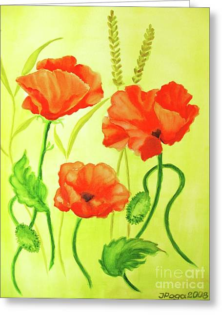 Greeting Card featuring the painting Poppy Trio by Inese Poga