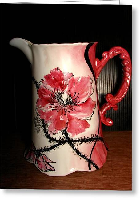 Poppy Water Pitcher Greeting Card by Verna Jean Dawson