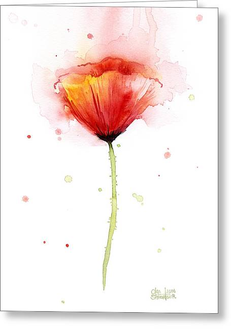Poppy Watercolor Red Abstract Flower Greeting Card by Olga Shvartsur