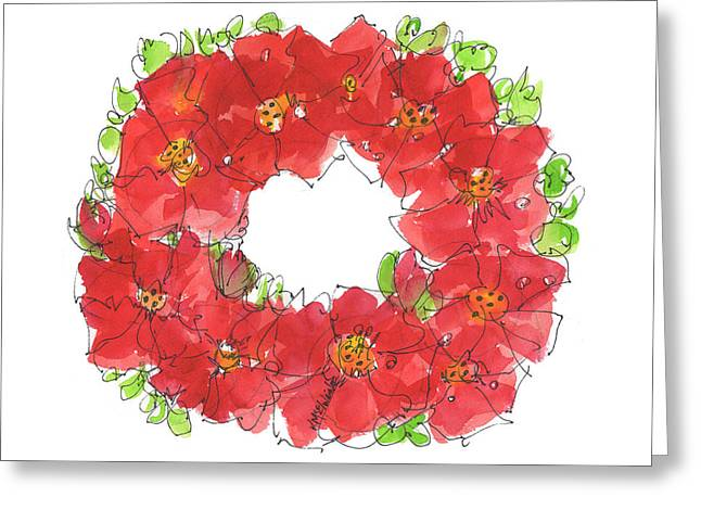 Poppy Wreath Greeting Card by Kathleen McElwaine
