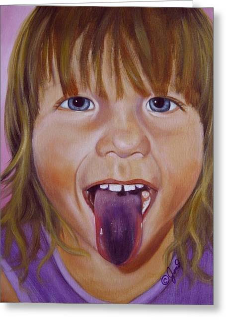 Greeting Card featuring the painting Popsicle Tongue by Joni McPherson