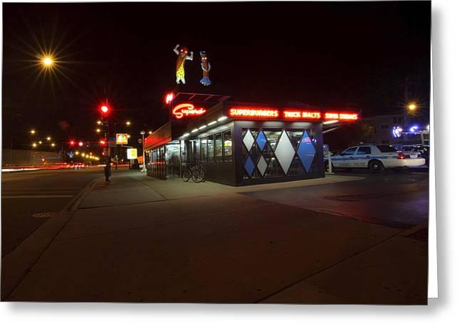 Popular Chicago Hot Dog Stand Night Greeting Card by Sven Brogren