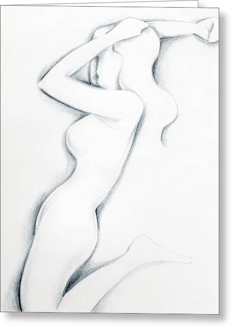 Greeting Card featuring the drawing Porcelain by Keith A Link