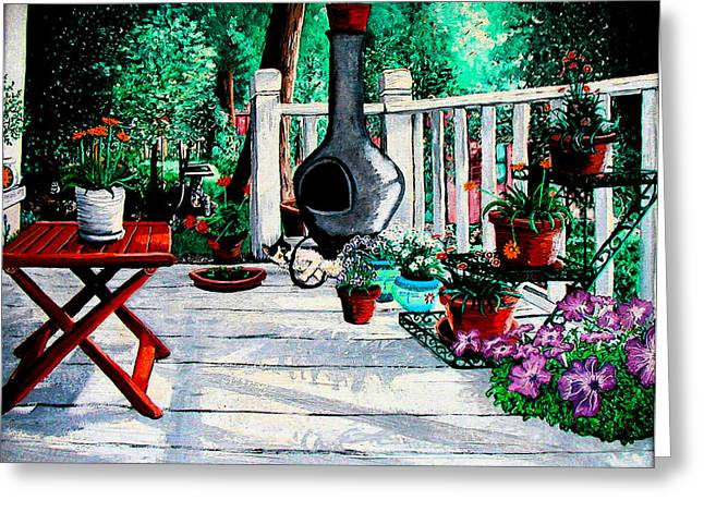 Porch Cat Sleeps Greeting Card by Laura Brightwood