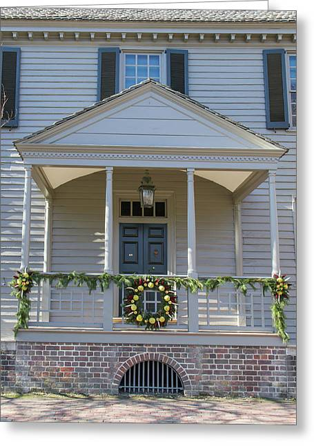 Porch Decor At The Robert King Carter House Greeting Card by Teresa Mucha