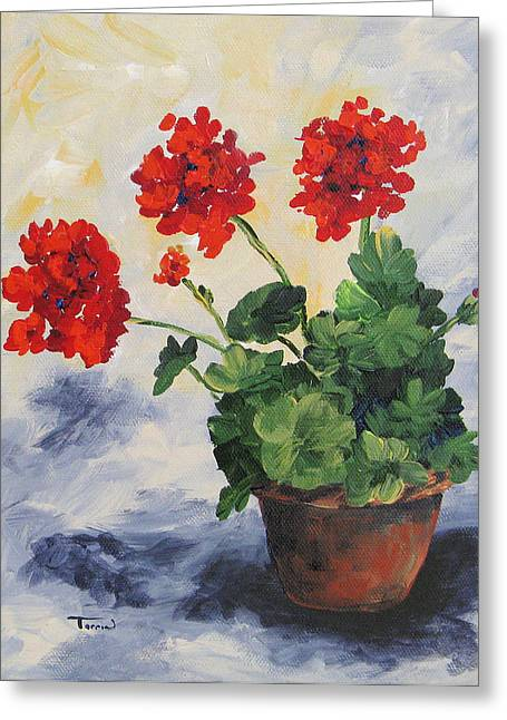 Red Clay Greeting Cards - Porch Geraniums Greeting Card by Torrie Smiley