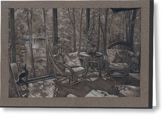 Porch In Woods Greeting Card by Penny Cash