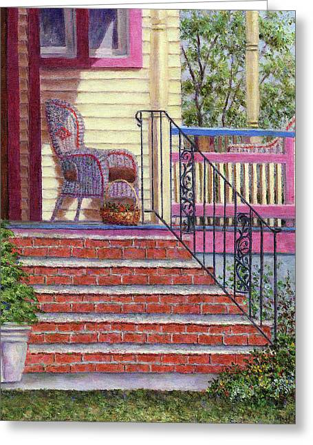 Porch With Basket Greeting Card by Susan Savad