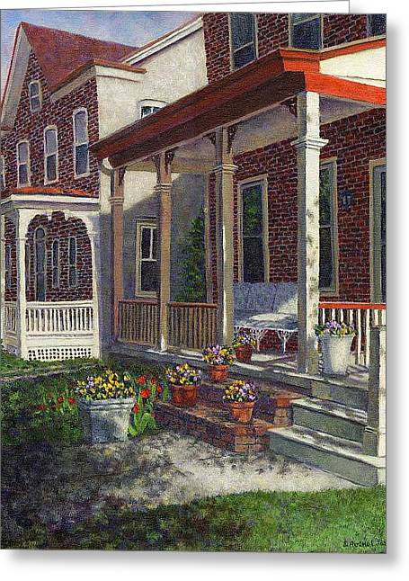 Porch With Pots Of Pansies Greeting Card
