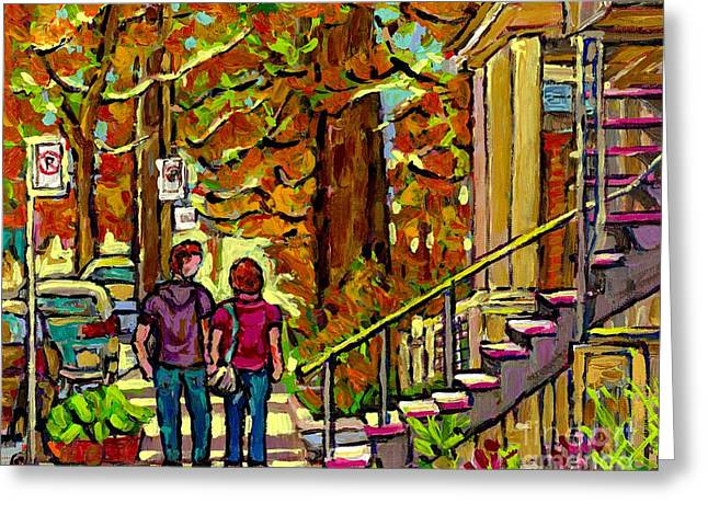 Porches Balconies Staircases Beautiful Verdun Autumn Painting Streetscene Art Couple Stroll Montreal Greeting Card by Carole Spandau