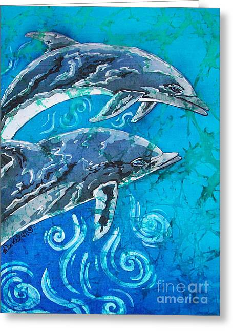Pairs Tapestries - Textiles Greeting Cards - Porpoise Pair - Close Up Greeting Card by Sue Duda