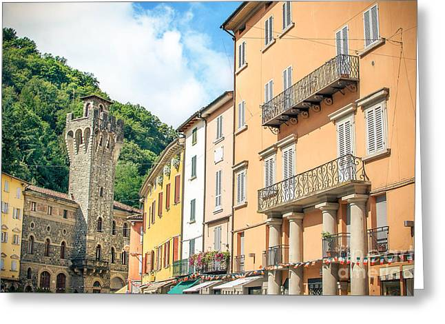 Porretta Terme, Bologna - Italy - August 2, 2015 - Colorful Buil Greeting Card